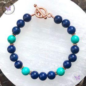 Lapis Lazuli & Turquoise Copper Bracelet